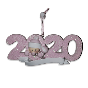 2020 Baby Christmas Ornament - Pink