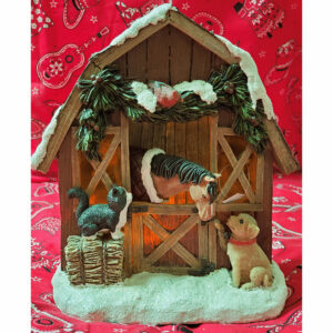 Musical Light Up Barn Figurine