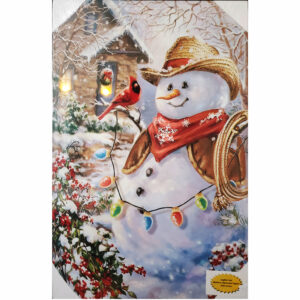LED Cowboy Snowman Canvas