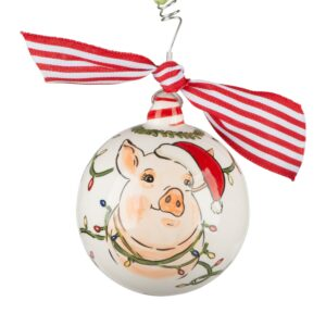 pig glory haus ornament in santa cap
