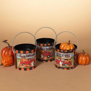 Halloween buckets with pickup trucks