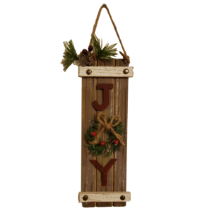 plank Joy sign ornament with wreath