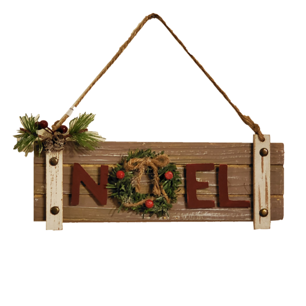 Plank Noel Sign Ornament with Wreath