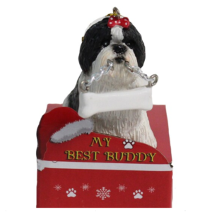 black shih tzu ornament
