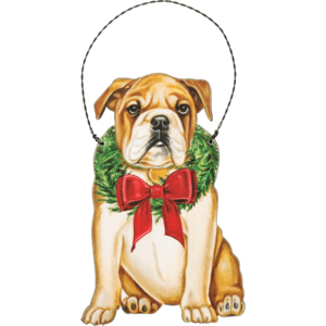 wooden bulldog ornament
