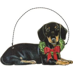 wooden black dachshund ornament