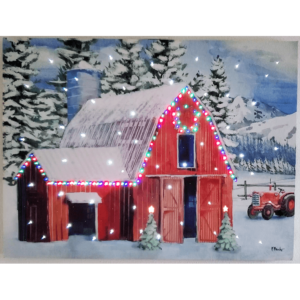 Christmas barn light-up canvas with colored and twinkling lights