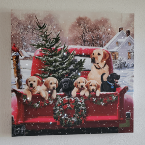 pickup truck with puppies and Christmas tree light-up canvas