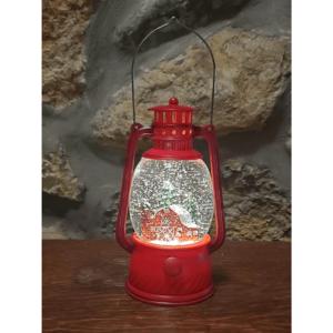 Christmas barn lantern water globe