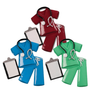 scrubs ornaments with clipboard