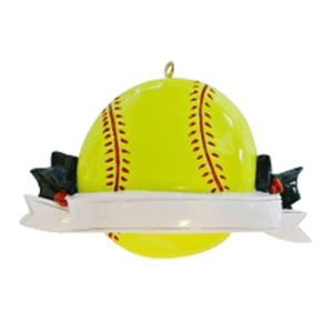 softball ornament with banner