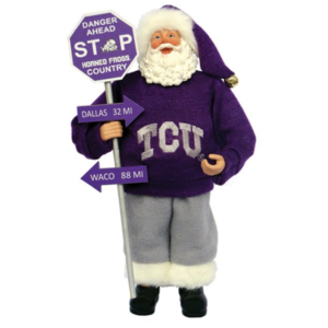 TCU Santa with sign