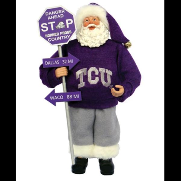 TCU Santa with sign