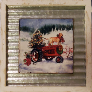 Dog on Tractor Wall Art Waffle Tin