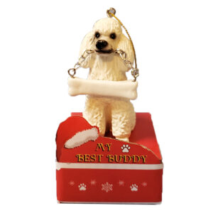 poodle ornament - white