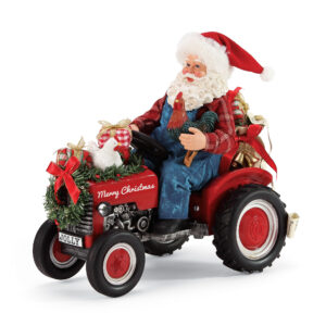 Possible Dreams Country Living Santa on red tractor