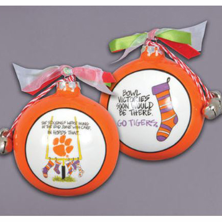 Ceramic Clemson Ornament-Stockings