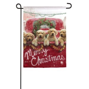 Puppies in Red Truck Garden Flag