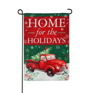Home For The Holidays Red Truck Garden Flag