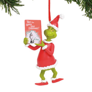 Grinch Holding Book Ornament