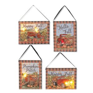 Lighted Harvest Canvas With Ribbon Hanger