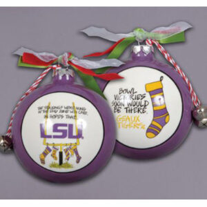 Ceramic LSU Ornament -Stockings