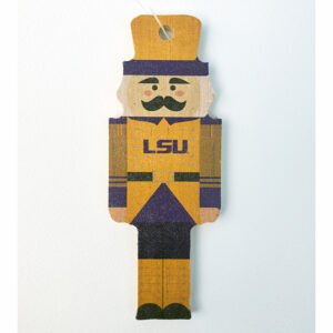 Wood LSU Nutcracker Ornament