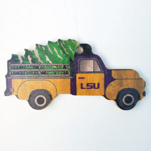 Wood LSU Truck Ornament