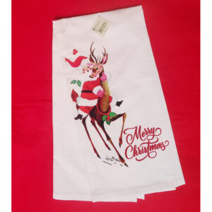 Retro Mid Century Santa Riding Deer Tea Towel