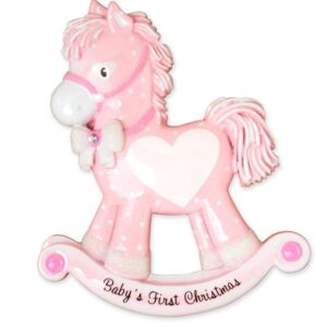Baby's first Christmas ornament - pink rocking horse