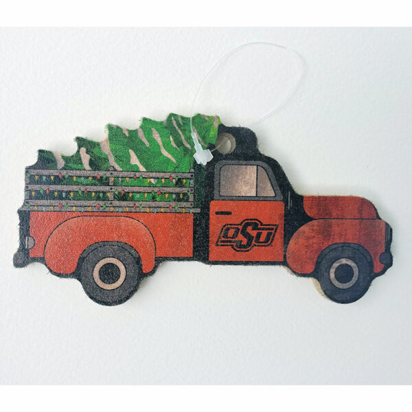 Wood Oklahoma State Truck Ornament