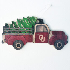 Wood OU Truck Ornament