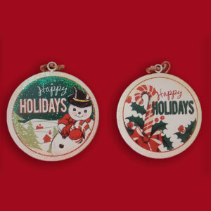 Metal Retro Mid Century Disc Ornaments - Snowman and Candy Cane Set