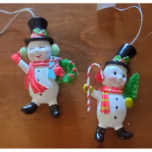 Mid Century Retro Snowman With Wreath and Candy Cane