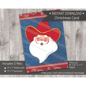 Cowboy Santa in red hat western Christmas card