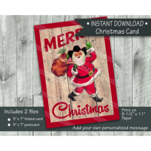 Cowboy Santa walking with bag Christmas card