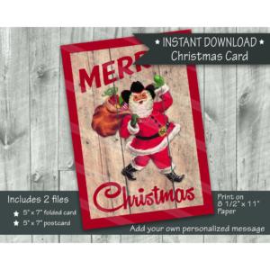 Cowboy Santa walking with bag Christmas card