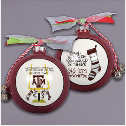 Ceramic Texas A & M Ornament-Stockings