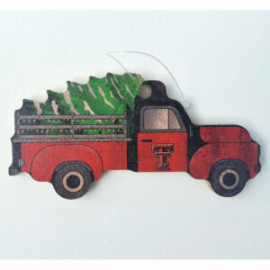 Wood Texas Tech Truck Ornament