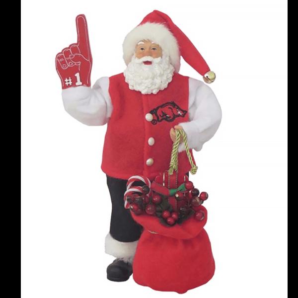University of Arkansas Santa with foam finger