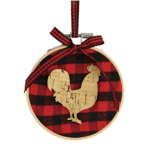 buffalo plaid rooster ornament