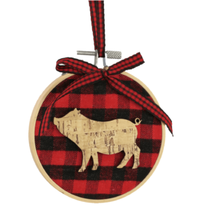 buffalo plaid pig ornament