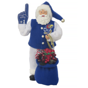 University of Kansas Santa with foam finger