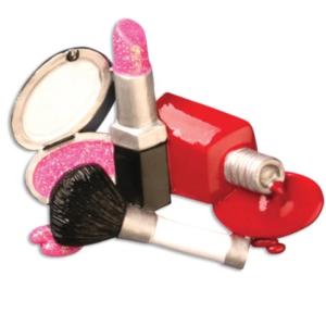 Lipstick, nail polish and makeup ornament