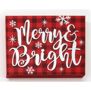 merry & bright buffalo plaid Christmas sign