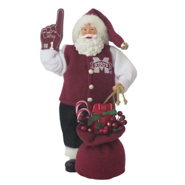 "Mississippi State Santa with bag and ""foam"" finger"