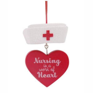 Nurse Cap Ornament With Dangle Heart