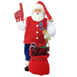 University of Mississippi Santa with foam finger