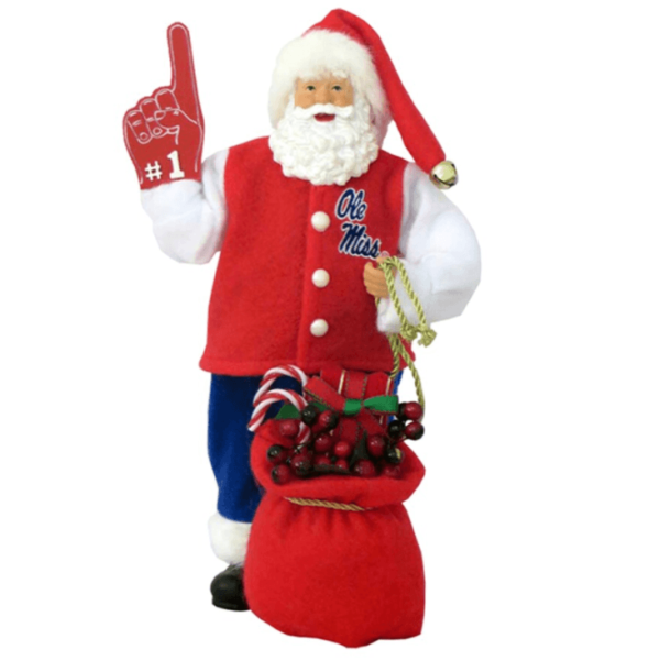 University of Mississippi Santa with foam finger