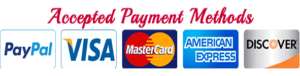 accepted payment methods - PayPal - Visa - MasterCard - American Express - Discover